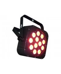 Light Emotion FLAT1212 LED Flat Wash Fixture 12x10W 6-in-1 LED RGBWAUV. Piggy back plug, double yoke.