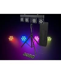 Light Emotion PARBAR3TRI LED Par Bar 28x3W 3-in-1 RGB LEDs w/ stand, foot controller, bag.